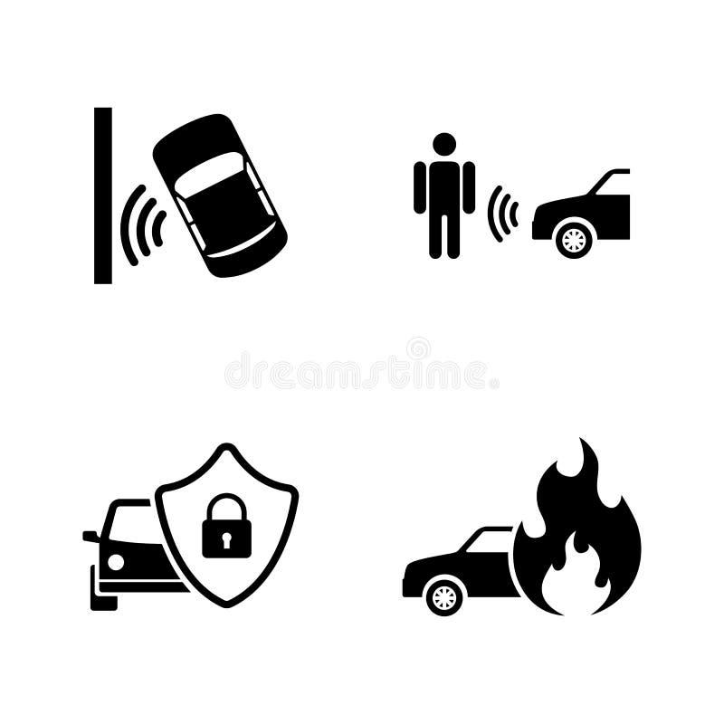Auto segurança Ícones relacionados simples do vetor ilustração do vetor