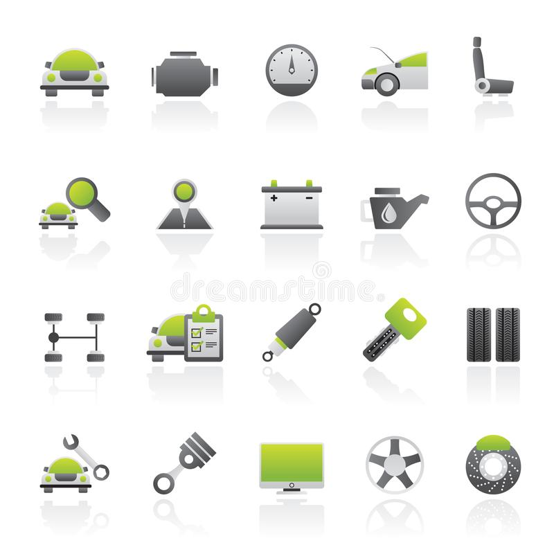 Auto service and car part icons stock illustration