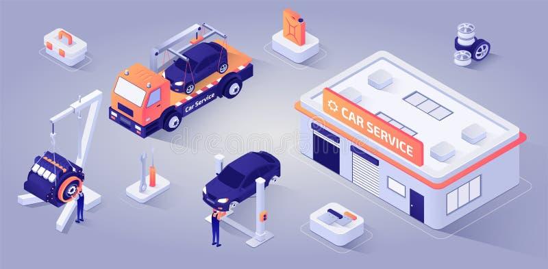 Auto-Service-Gebäude mit Mechanikern am Arbeits-Vektor vektor abbildung