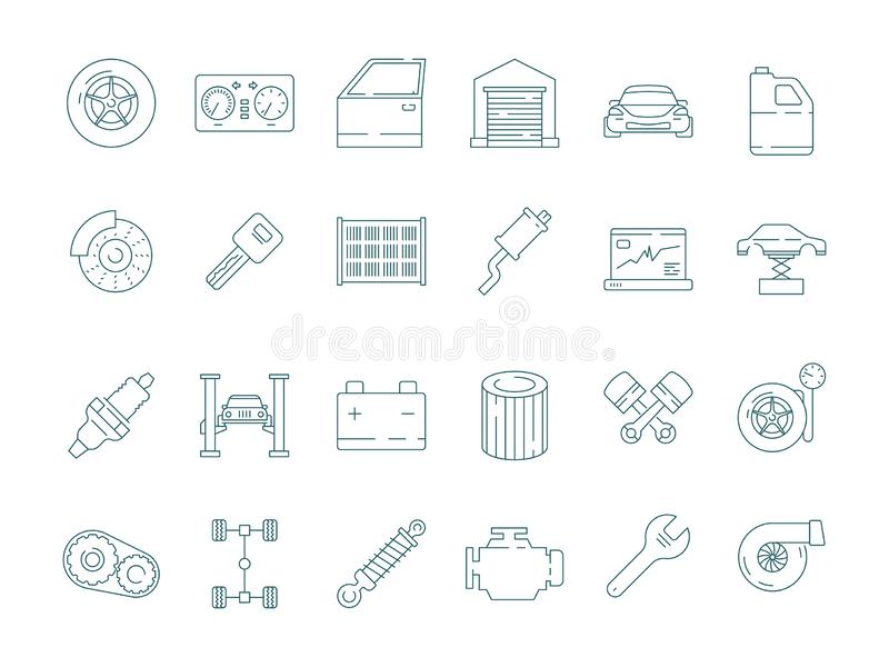 Auto service icon. Automotive mechanic car parts engine gearbox engine oil filter vector thin line pictures royalty free illustration