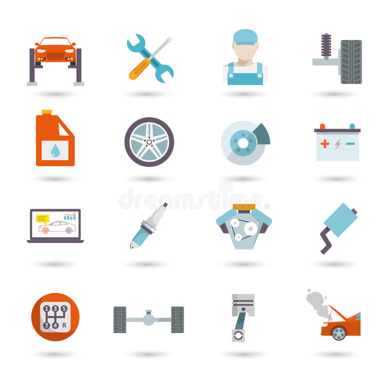 Auto Service Icons Flat royalty free illustration