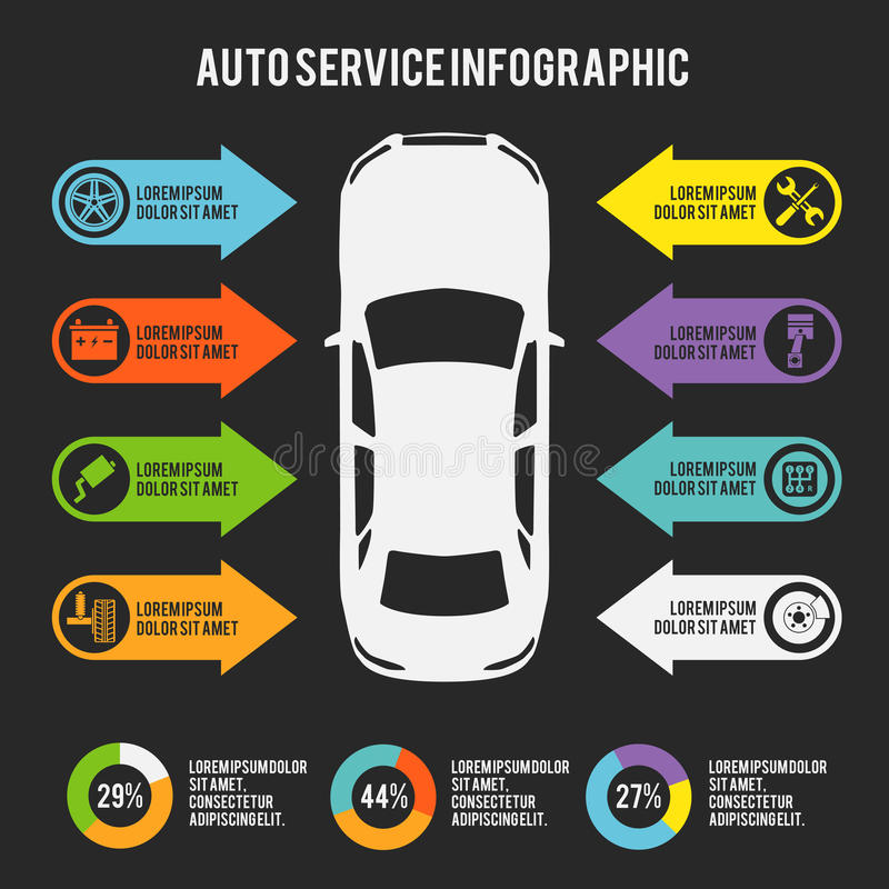 Auto Service Infographic Stock Vector Illustration Of