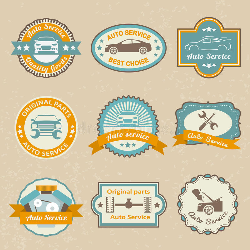 Auto service labels royalty free illustration