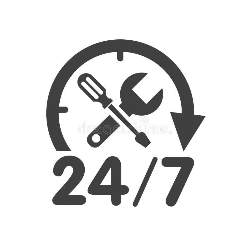 24 7 Auto-Service-Logo stock abbildung