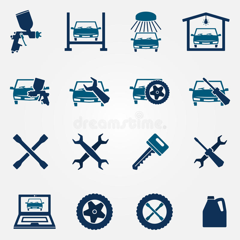Auto service and repair flat icon set vector illustration