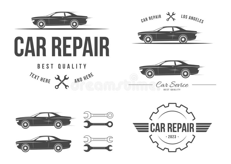 Auto service set. Set of labels for auto service royalty free illustration