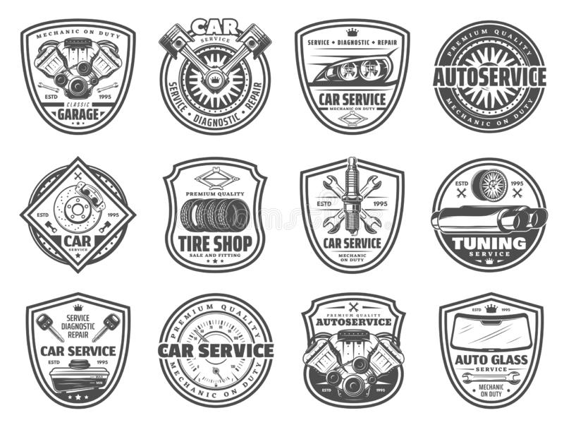 Spare parts, car service and garage station icons stock illustration