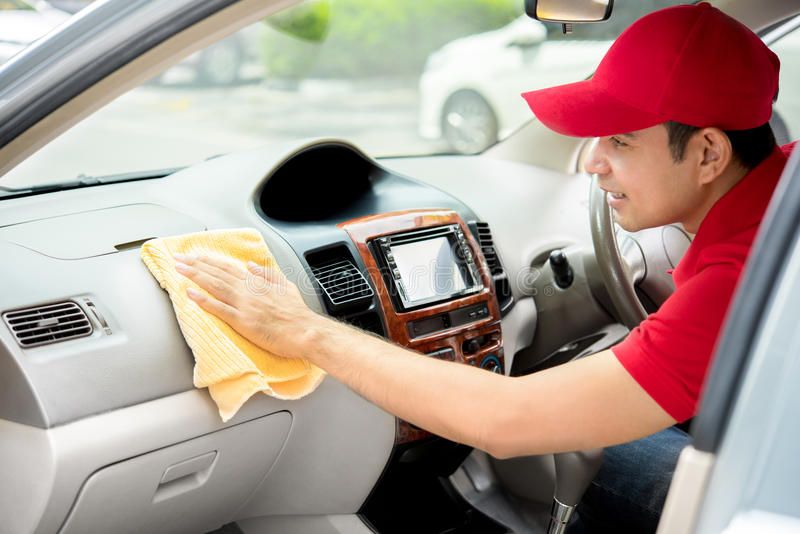 Auto Service Staff Cleaning Car Interior   Car Detailing And Valeting  Concept
