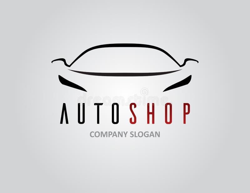 Auto shoppa billogodesignen med konturn för begreppssportmedlet royaltyfri illustrationer