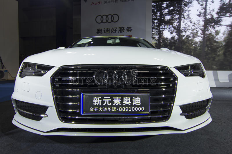 Auto show — Audi A7 car front. The 2017 Chongqing lnternational Auto Consumption Exhibition.Audi A7car front close-up. Photo taken April 10, 2017, in royalty free stock images
