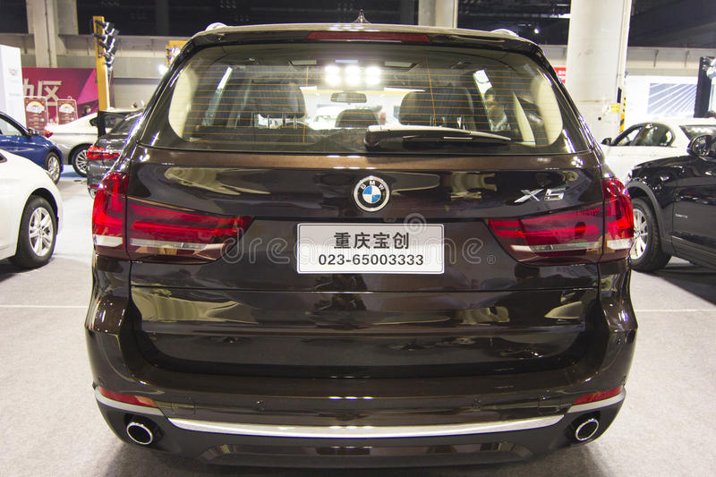 Auto show — BMW X5 car back. The 2017 Chongqing lnternational Auto Consumption Exhibition.BMW X5 car back close-up.nPhoto taken April 10, 2017, in stock photos