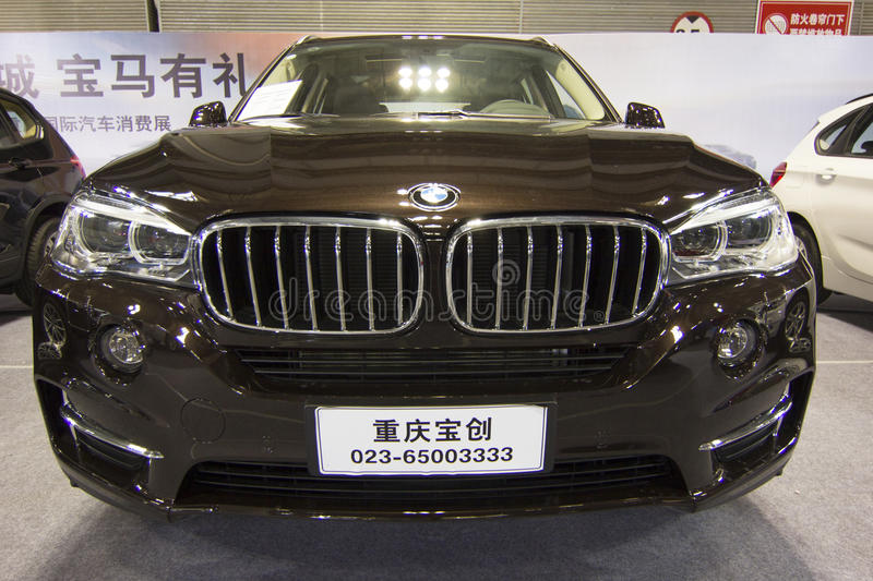 Auto show — BMW X5. The 2017 Chongqing lnternational Auto Consumption Exhibition.BMW X5 car front close-up.nPhoto taken April 10, 2017, in Chongqing stock photos