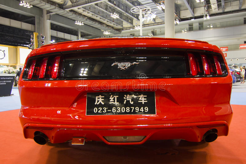 Auto show — ford mustang car back. The 2017 Chongqing lnternational Auto Consumption Exhibition.ford mustang car back. Photo taken April 10, 2017, in royalty free stock images