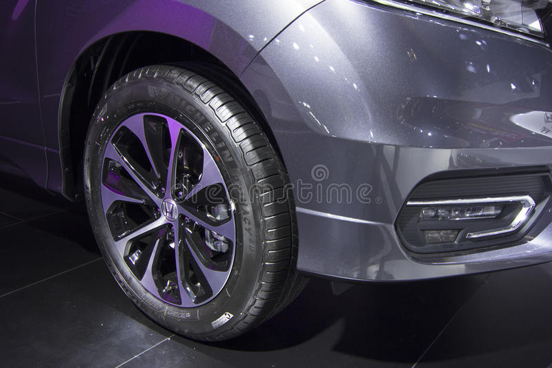Auto show — Honda AVANCIER. The 2017 Chongqing lnternational Auto Consumption Exhibition.Honda AVANCIER tyre close-up. Photo taken April 10, 2017, in royalty free stock photo