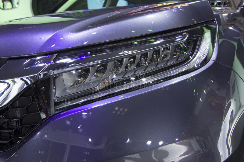 Auto show — Honda AVANCIER headlights close-up. The 2017 Chongqing lnternational Auto Consumption Exhibition.Honda AVANCIER headlights close-up. Photo royalty free stock image