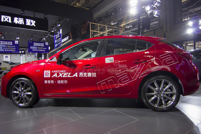 Auto show — Mazda AXELA. The 2017 Chongqing lnternational Auto Consumption Exhibition.Mazda AXELA. Photo taken April 10, 2017, in Chongqing, china stock photos
