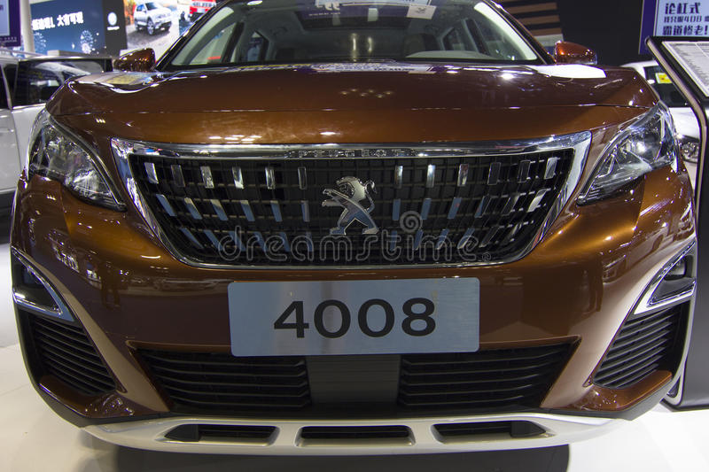 Auto show — Peugeot 4008 car front. The 2017 Chongqing lnternational Auto Consumption Exhibition,Peugeot 4008 car front close-up. Photo taken April 10 royalty free stock photography