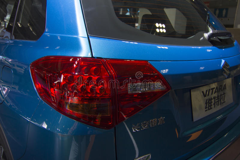 Auto show — SUZUKI VITARA. The 2017 Chongqing lnternational Auto Consumption Exhibition.SUZUKI VITARA automobile tail light close-up. Photo taken April 10 stock photos