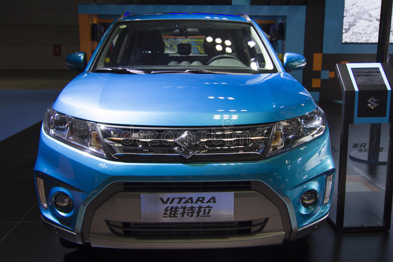 Auto show — SUZUKI VITARA. The 2017 Chongqing lnternational Auto Consumption Exhibition.SUZUKI VITARA front close-up. Photo taken April 10, 2017, in royalty free stock image