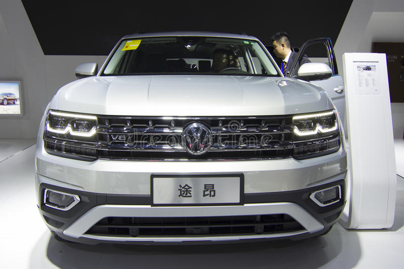 Auto show — VOLKSWAGEN Teramont. The 2017 Chongqing lnternational Auto Consumption Exhibition.Teramont car front close-up. Photo taken April 10, 2017, in stock photography
