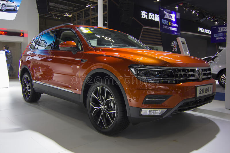 Auto show — Volkswagen Tiguan. The 2017 Chongqing lnternational Auto Consumption Exhibition.Volkswagen Tiguan. Photo taken April 10, 2017, in Chongqing stock photo