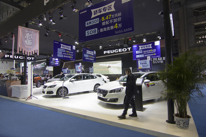 Auto show. The 2017 Chongqing lnternational Auto Consumption Exhibition,Peugeot showroom.Photo taken April 10, 2017, in Chongqing, china stock photography