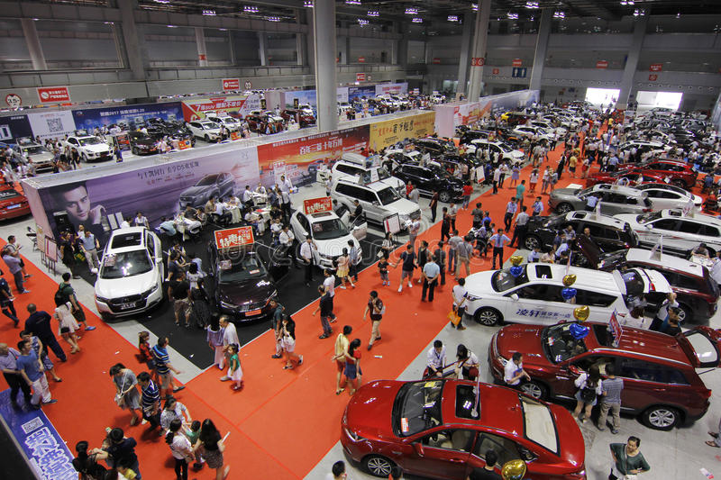 Auto show in chongqing. Scene pictures of the auto show held in Chongqing, China on May 20, 2017 stock photo