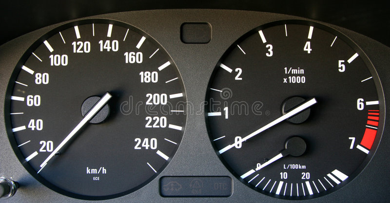 Auto speedometer and tachymeter stock photography