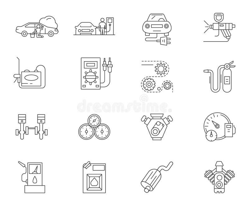 Auto stacja obsługi linii ikony, znaki, wektoru set, kontur ilustracji pojęcie ilustracja wektor