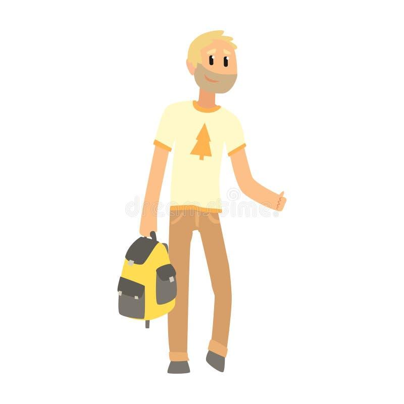 Auto-stop de l'homme avec le sac essayant d'arrêter une voiture sur une route, voyageant illustration stock