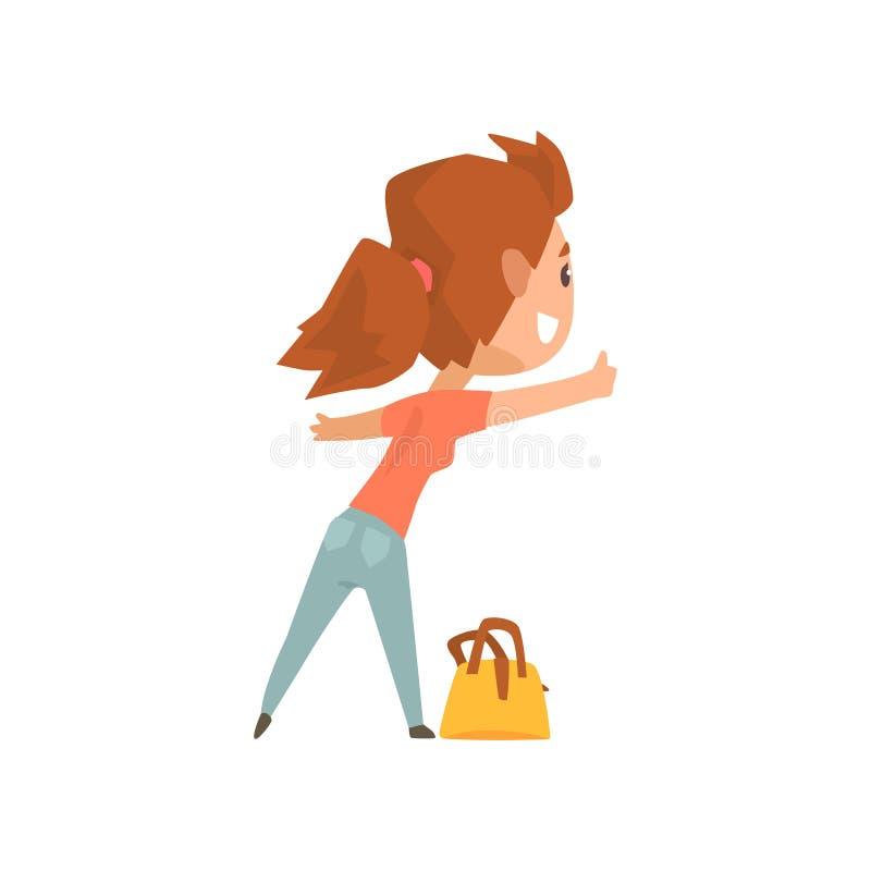 Auto-stoppeur féminin de voyageur de bande dessinée avec le sac, fille essayant d'arrêter une voiture sur une route à la main, vo illustration de vecteur