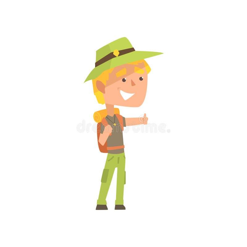 Auto-stoppeur masculin de voyageur de bande dessinée avec le chapeau et le sac à dos, homme essayant d'arrêter une voiture sur un illustration libre de droits