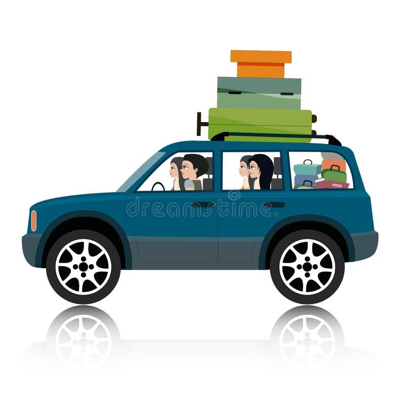Auto suv bagage. vector illustratie
