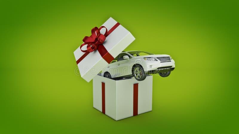 Auto SUV-Coupé Geschenkboxkonzept stock abbildung