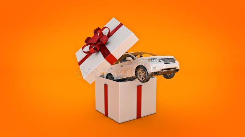 Auto SUV-Coupé Geschenkboxkonzept lizenzfreie abbildung