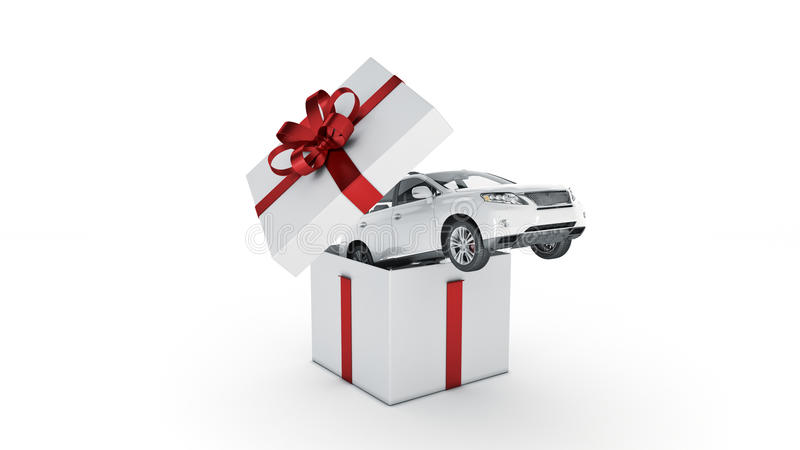 Auto SUV-Coupé Geschenkboxkonzept vektor abbildung