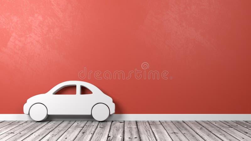 Auto-Symbol-Form auf Bretterboden lizenzfreie abbildung