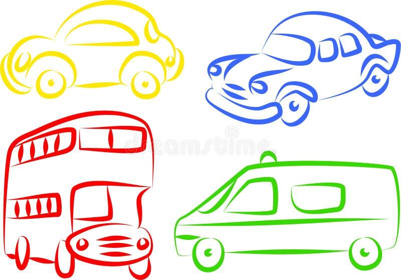 auto symboler royaltyfri illustrationer