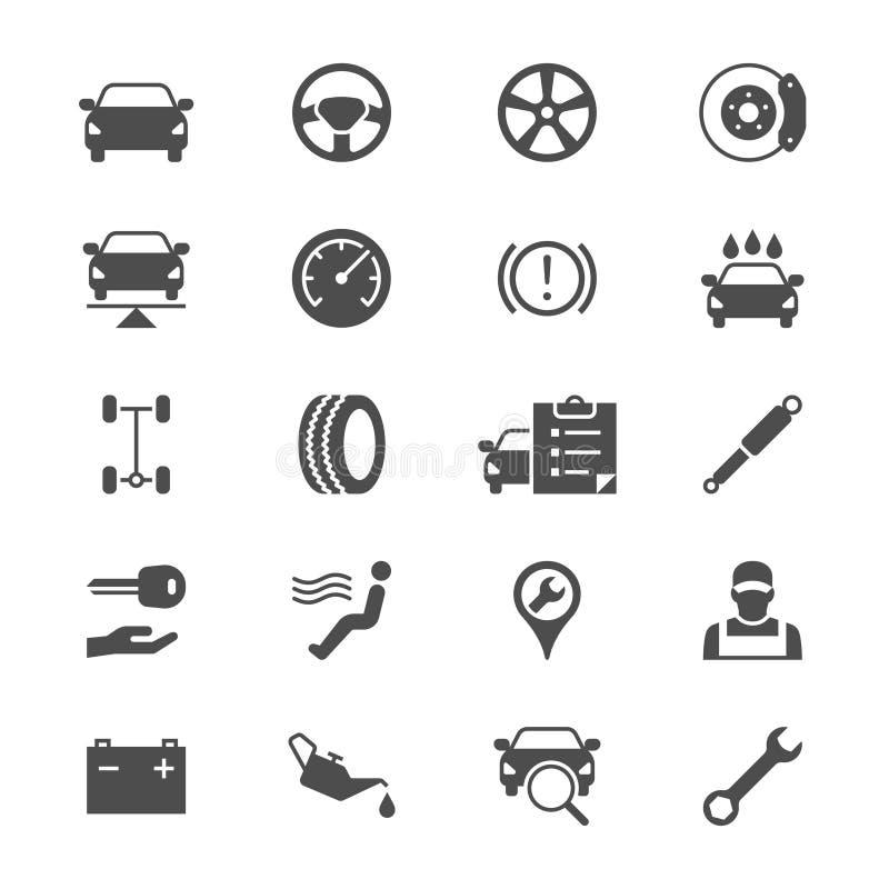 Auto symboler för tjänste- lägenhet vektor illustrationer
