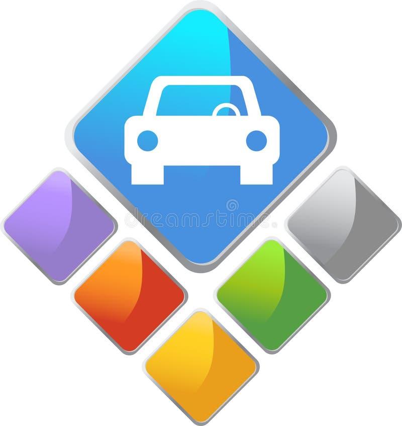 auto symbolsfyrkant vektor illustrationer