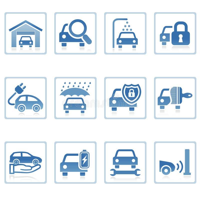 auto symbolssymboler utför service rengöringsduk stock illustrationer