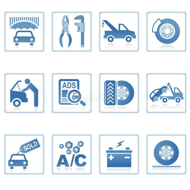 auto symbolssymboler utför service rengöringsduk vektor illustrationer