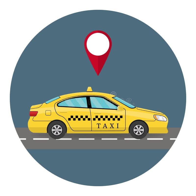 Auto-Taxi in der flachen Art Lokalisiert auf whiye Hintergrund Fahren Sie das gelbe Auto-Fahrerhaus mit einem Taxi, das auf weiße stock abbildung