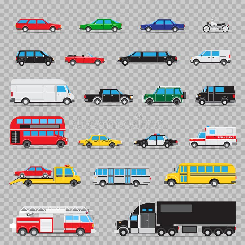 Auto transport icon set. Collection of different kinds and types of transportation cars royalty free illustration