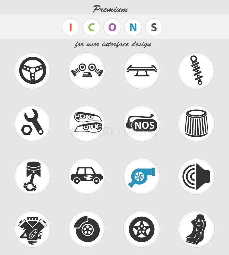 Auto trimma symbolsuppsättning royaltyfri illustrationer