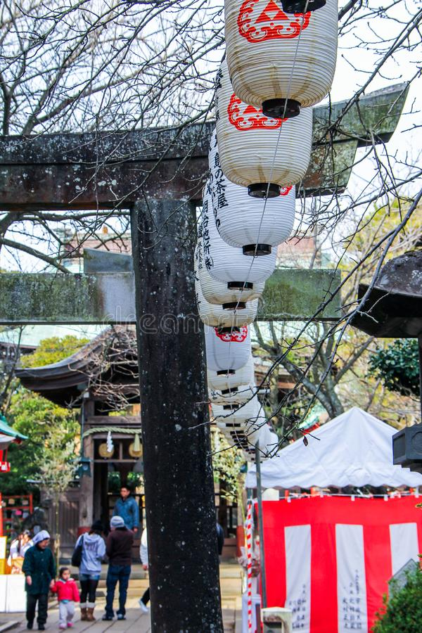 Auto trip around famous places of Japan.  Decorative elements  - lanterns - in the park. stock image
