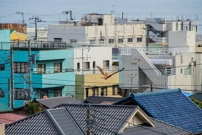 Auto trip around famous places of Japan. Hill view of the bay and town. stock photography