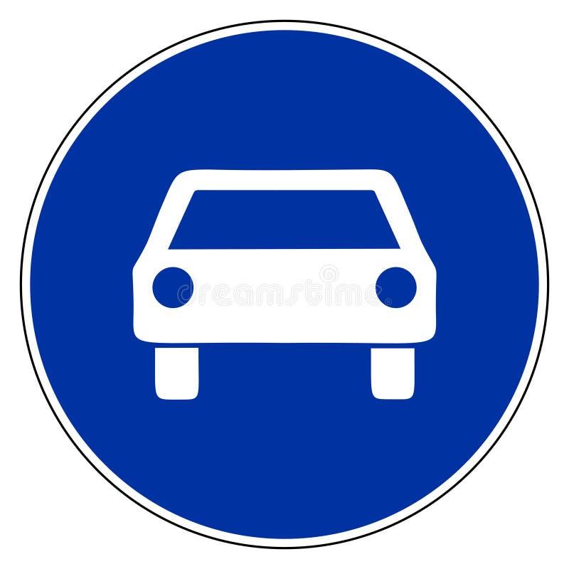 Auto und blaues Zeichen vektor abbildung
