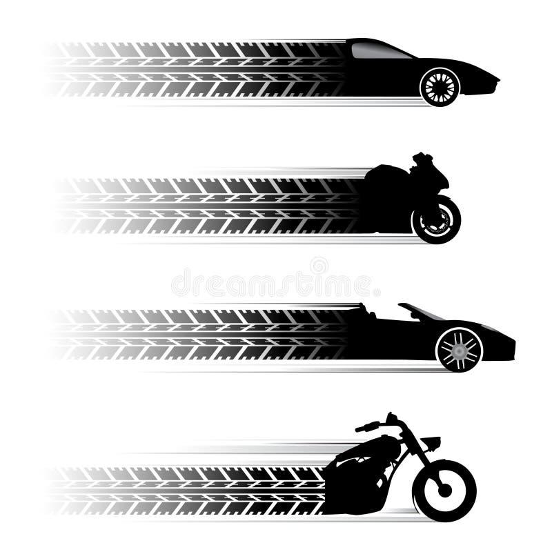 Auto- und Motorradsymbole stock abbildung