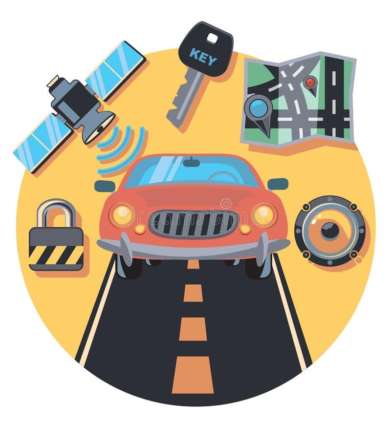 Auto- und Personalkreisikone mit Schatten stock abbildung